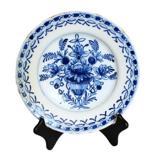 C.1800-1820 Delft Floral Urn Decorated Soup Plate