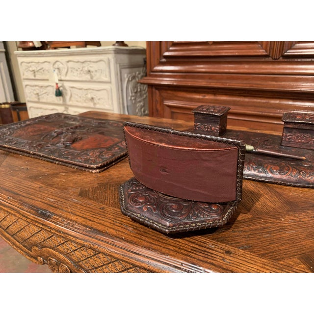 19th Century French Gothic Embossed Leather Five-Piece Desk Set For Sale - Image 11 of 13