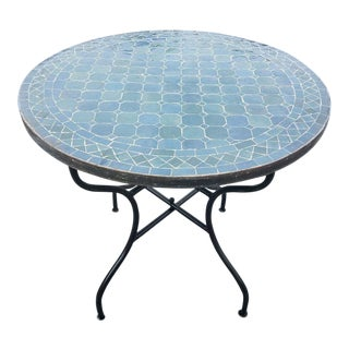 Moroccan Blue Gray Mosaic Table For Sale