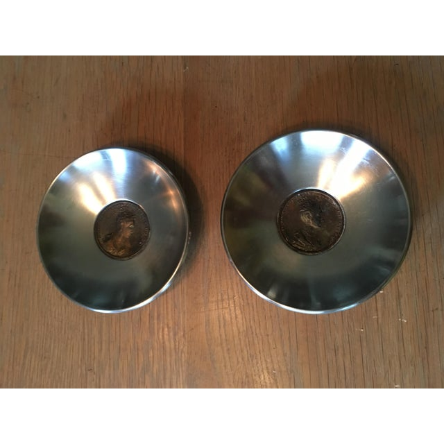 Antique Coin Embedded Italian Stainless Bowls - a Pair - Image 2 of 5