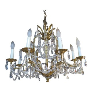 1950s Vintage Solid Brass and Crystal 8 Arm Chandelier For Sale