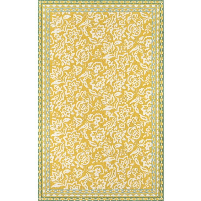 Fiber Madcap Cottage Under a Loggia Rokeby Road Yellow Indoor/Outdoor Area Rug 5' X 8' For Sale - Image 7 of 7