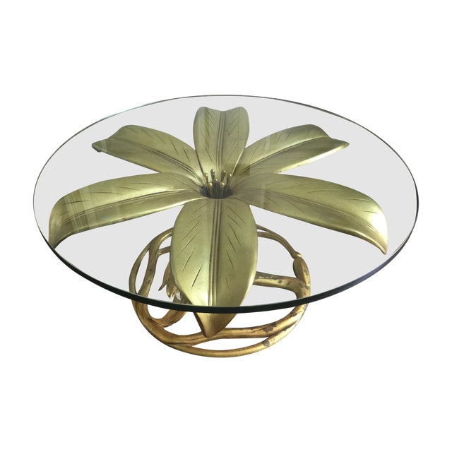 Arthur Court Vintage Gilt Lilly Base Coffee Table - Image 1 of 7