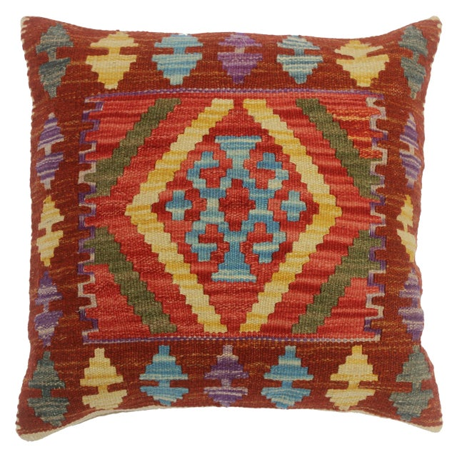 """Chelsie Red/Rust Hand-Woven Kilim Throw Pillow(18""""x18"""") For Sale"""
