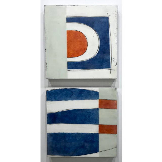 "Contemporary Gina Cochran ""Perceptions No. 29"" Encaustic Collage Painting - Indigo & Orange For Sale - Image 3 of 4"