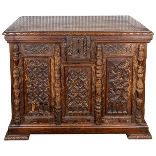 18th Century French Gothic Wood Trunk For Sale