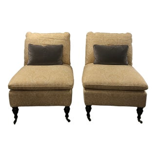 1990s Vintage Mitchell Gold Slipper Chairs with Pillows - a Pair For Sale