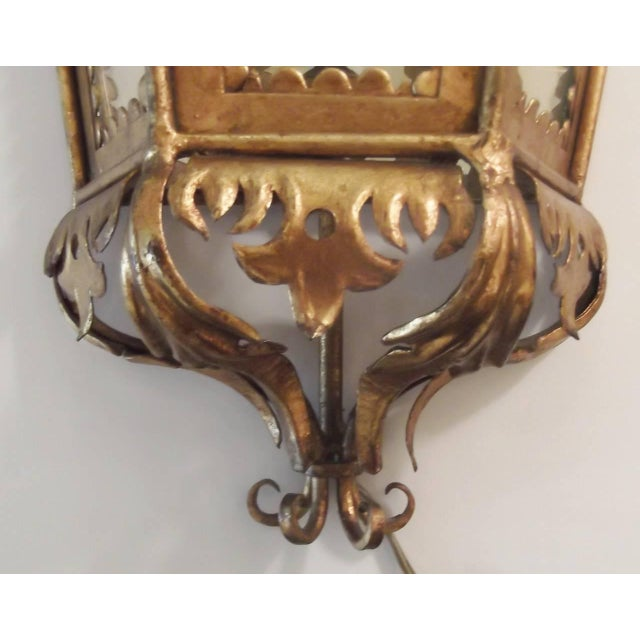 Hollywood Regency Italian Hollywood Regency Gilt Toleware Sconces - a Pair For Sale - Image 3 of 11