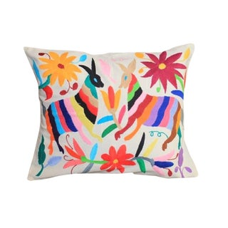 Multicolor Otomi Hand-Stitched Pillow III For Sale