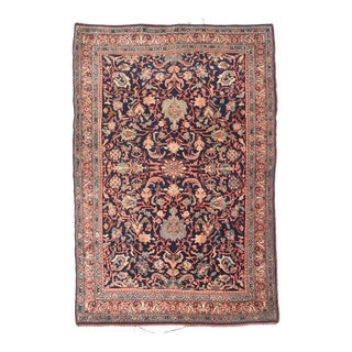 Antique Red Halvaie Bidjar Persian Area Rug For Sale