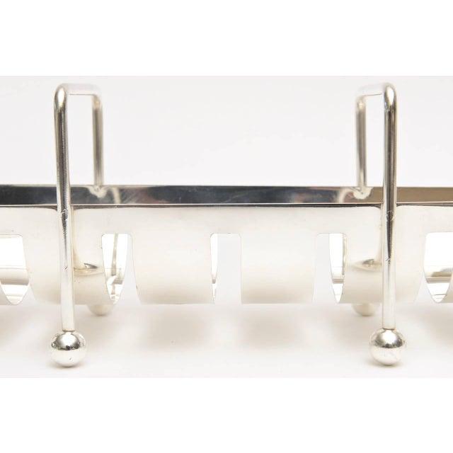 Metal Italian Modernist Silver Plate Baguette Holder For Sale - Image 7 of 10