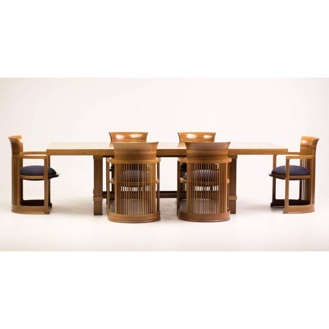 Cassina Taliesin Dining Table and Barrel Chairs Designed by Frank Lloyd Wright For Sale - Image 10 of 10