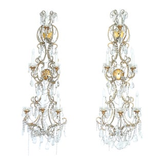 Italian Large Pair of Crystal Wall Sconces For Sale