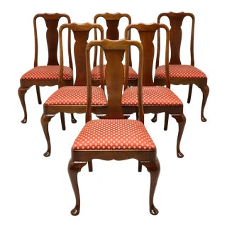 Stickley Solid Cherry Queen Anne Style Dining Side Chairs - Set of 6 For Sale
