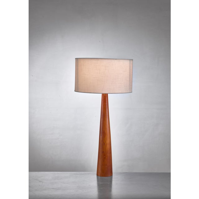Mid-Century Modern Pair of Conical Wooden Table Lamps, Sweden, 1960s For Sale - Image 3 of 4