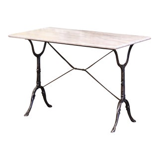 Early 20th Century French Polished Iron and Marble-Top Bistrot Table For Sale