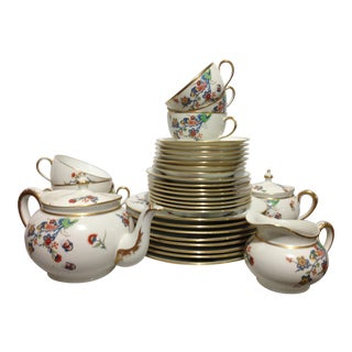 Early 20th Century French Limoges Floral Tea Serving Set - Set of 33 For Sale