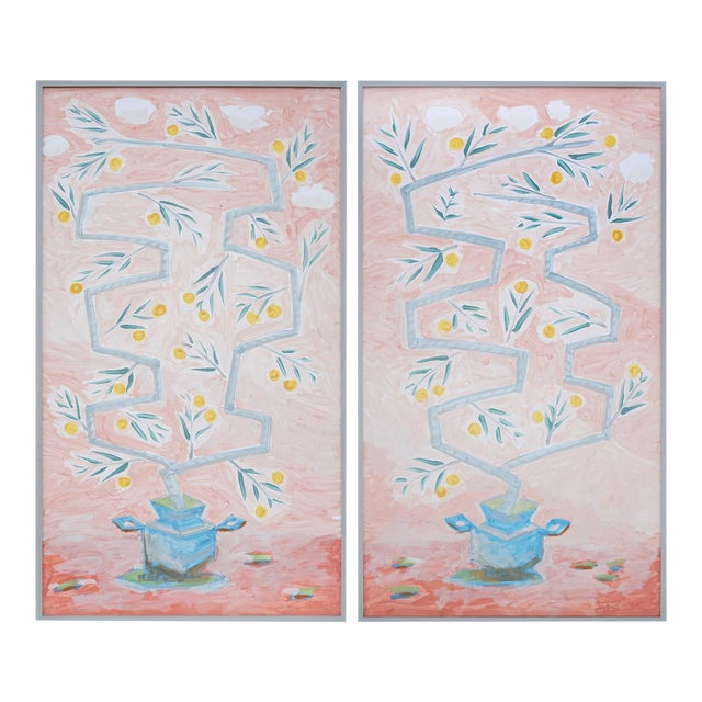"""""""Orange Trees on Rose Background"""" Contemporary Mixed-Media Botanical Paintings by Tom Wise, Framed - a Pair For Sale"""