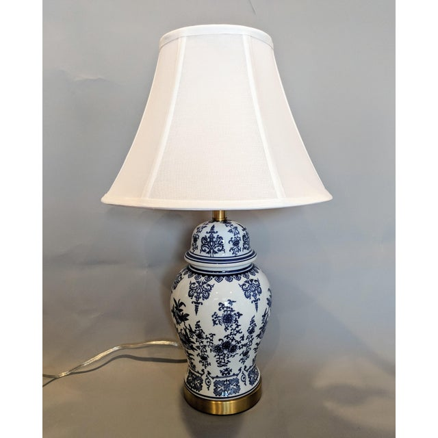 Blue and White Ceramic Lamp For Sale - Image 9 of 13