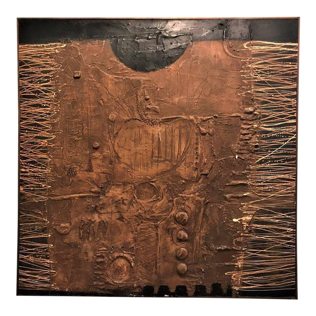 MCM Fine Abstract Oil on Board Signed by Michels Dated 1961, 'Copper Bleeding' For Sale