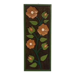 Vintage 1970's Hand Painted Floral Wood Carving Wall Art Plaque For Sale