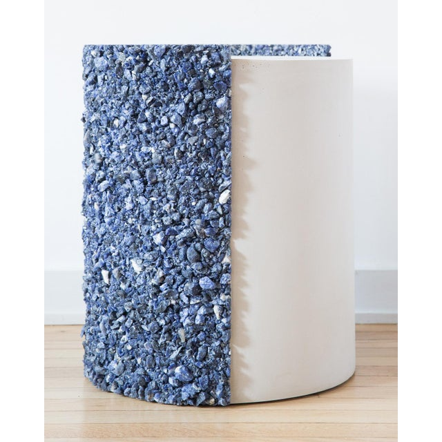 Hand Made Blue Sodalite and White Plaster Drum, Side Table by Samuel Amoia For Sale - Image 9 of 9