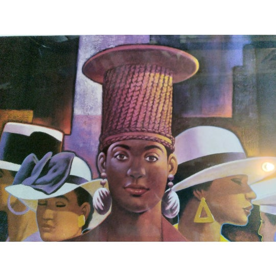 """Figurative 1990s """"A Preponderance of Hats"""" Postmodern Figurative Print by Cal Massey, Framed For Sale - Image 3 of 5"""