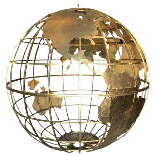 Huge Three Dimensional Gilt Metal World Globe Sculpture For Sale