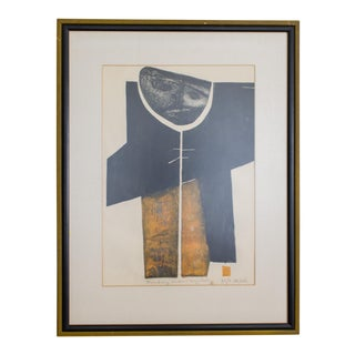 Modern Block Print | Betty La Duke | Black Yellow Mid Century For Sale