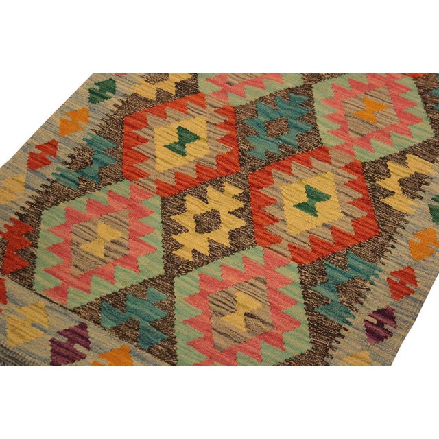 "Kilim Arya Sang Blue & Gray Wool Rug - 2' 7"" X 4' 1"" For Sale In New York - Image 6 of 8"