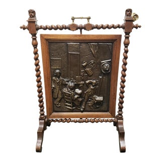"C. 1880 English Arts and Crafts Movement Hammered Copper Oak Rotating Fireplace Screen Signed ""Dase"" For Sale"