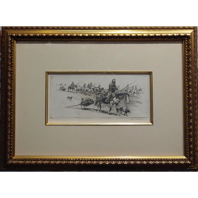 Edward Borein -Blackfoot Indian moving Camp-1920s original Etching Etching on paper under-glass- pencil Signed marked #168...