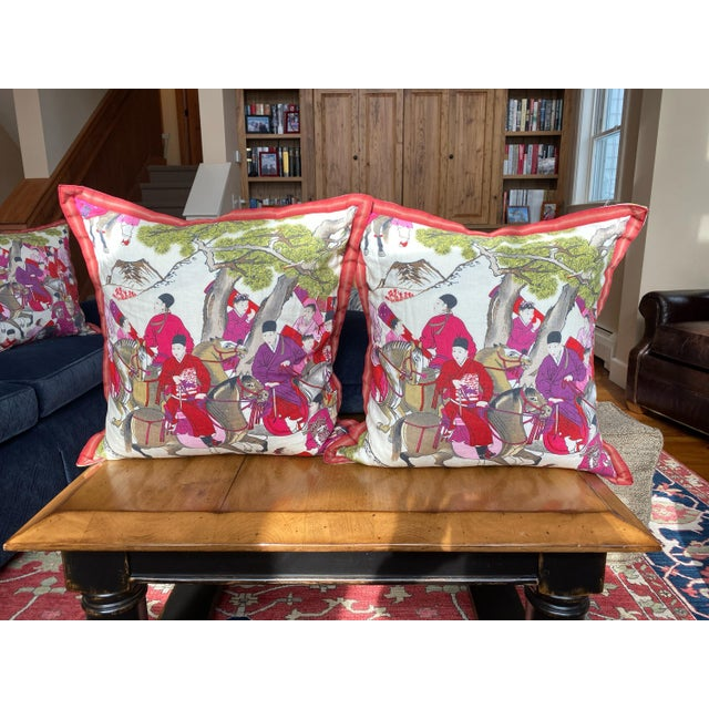 "2010s Pair of Asian Style French Manuel Canovas Les Caveliers Feather/Down Pillows - 22"" Square For Sale - Image 5 of 8"