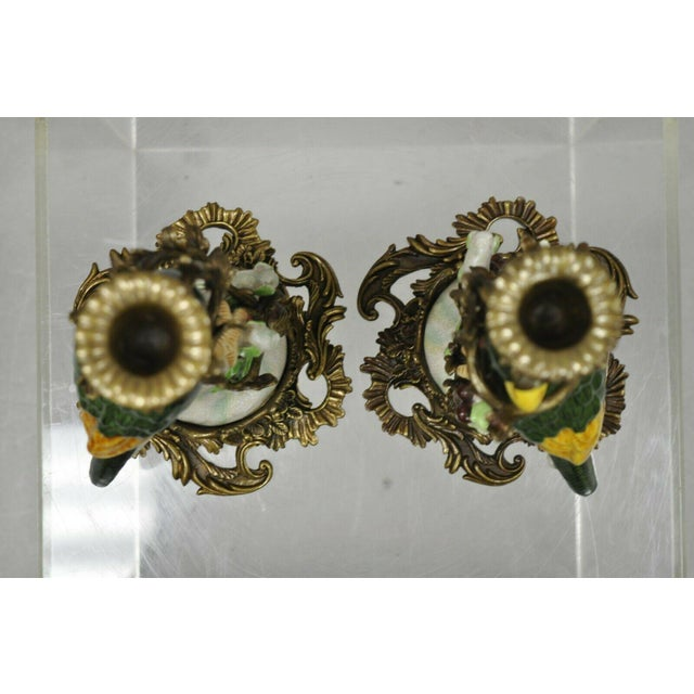 Green French Green & Yellow Parrot Candlestick Candle Holders-a Pair For Sale - Image 8 of 11