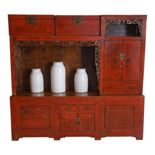 Original Lacquer and Hand Painted Red Cabinet For Sale