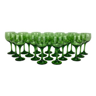 Vintage Green Glass Wine Glasses, Set of 20 For Sale
