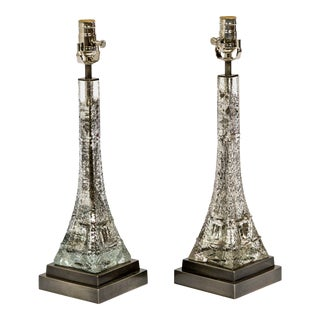 Dogfork Lamps Mercury Glass Eiffel Tower Lamps - a Pair For Sale
