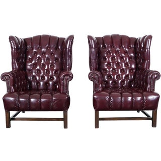 Vintage Leather Tufted Wingback Chairs For Sale