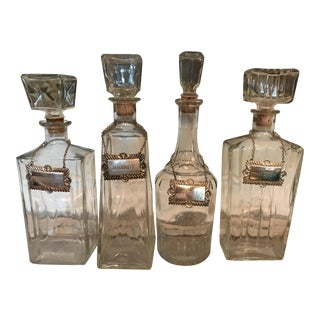 Art Deco Carved Glass Decanters Silver Tags - Set of 4 For Sale