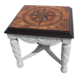 Art Deco Compass Rose Stain Art Wooden Side Table