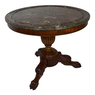 19th-Century French Mahogany Table (Gueridon) With Original Marble For Sale