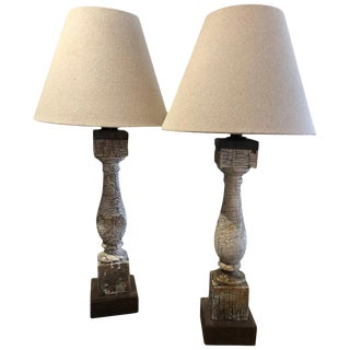 Rustic Modern Reclaimed Wooden Balustrade Table Lamps With Linen Shades - a Pair For Sale
