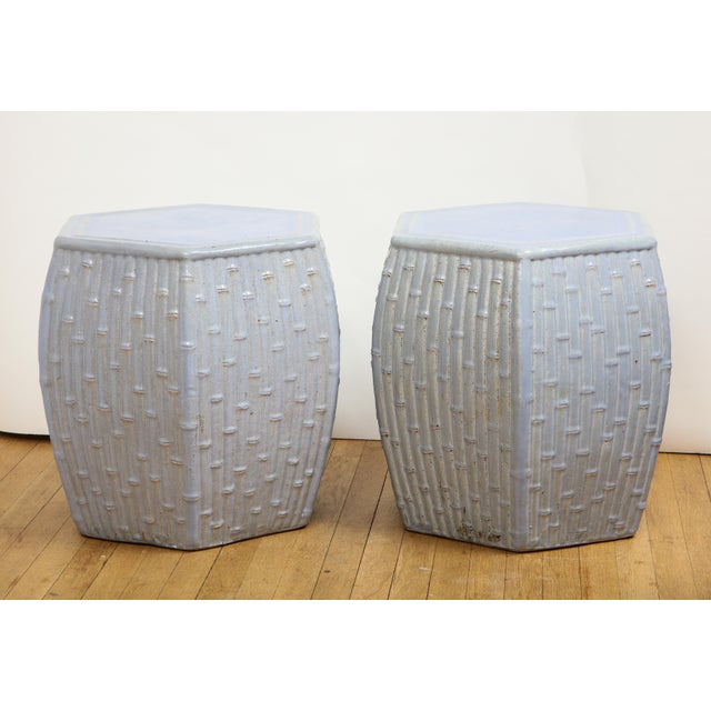 Faux Bamboo Garden Stools - A Pair For Sale - Image 10 of 13