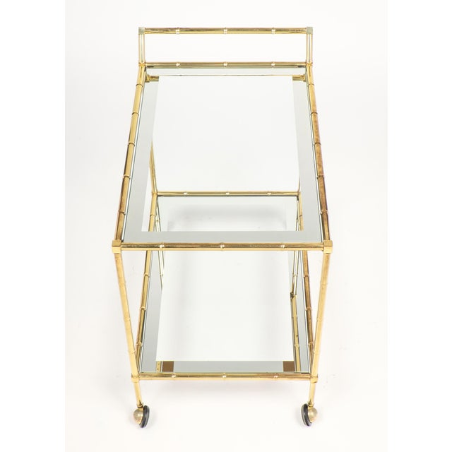 Maison Baguès Vintage French Brass Faux Bamboo Bar Cart or Trolley by Maison Baguès For Sale - Image 4 of 9