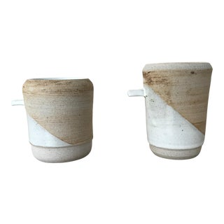 Tab Mugs in Brown & White Modern - a Pair For Sale