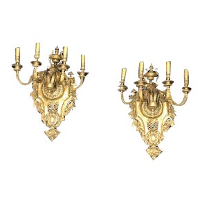 1930s Art Nouveau Brass Sconces - a Pair For Sale