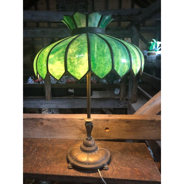Vintage Green Leaded Glass and Brass Large Table Lamp For Sale - Image 11 of 11