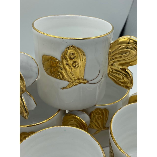 Ceramic Vintage Hollywood Regency Carole Stupell Golden Butterfly Luncheon Plate and Cups - Set of 8 For Sale - Image 7 of 12