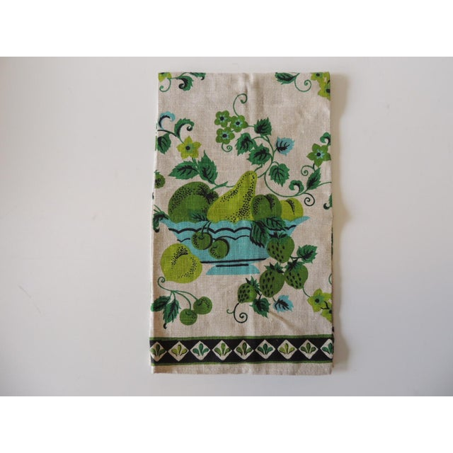 1990s Vintage Green and Blue Printed Bathroom Guest Towel For Sale - Image 5 of 5