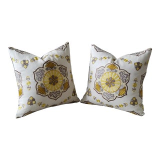 "20"" Vervain LaBoheme Embroidered Linen Pillow Covers With Velvet Back - a Pair For Sale"
